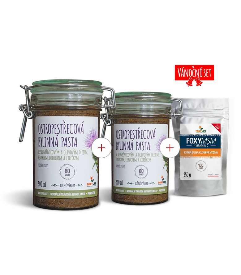 Výhodný set 2x Ostropestřecová bylinná pasta 500ml + MSM s vit.C 700g